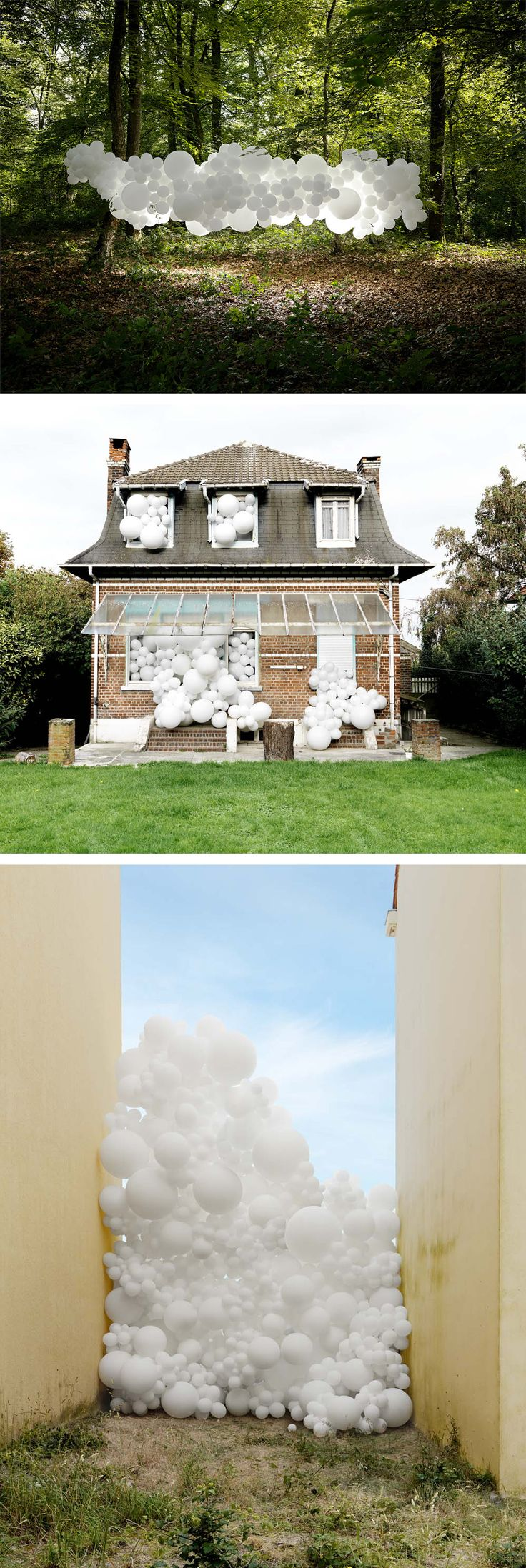 Clusters of White Balloons Photographed Invading Landscapes and Homes by Charles Pétillon