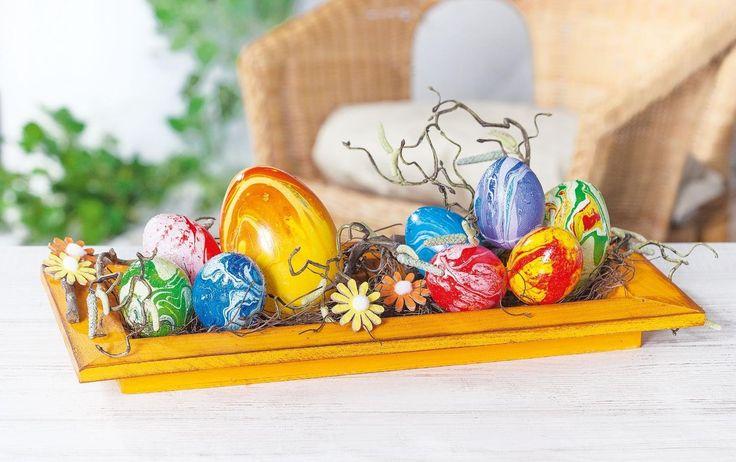 100 Deko-Eier ca. 6 cm, Kunststoff, Eier dekorieren, Ostern, Osterdekoration, Osterfest
