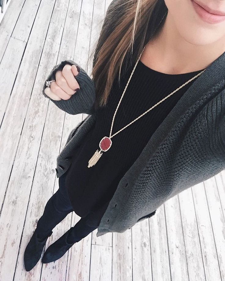 Evergreen grandpa cardigan for the 1st day of #decemberwearwhatwhere!  New obsessions: These Rebecca Minkoff black wedge booties & this Kendra Scott burgundy Rayne necklace from my latest @Rocksbox!  (use code 'taymbrownxoxo' for your first box free!) Happy Friday-eve!  || Shop my look: http://liketk.it/2pKKD @liketoknow.it #liketkit