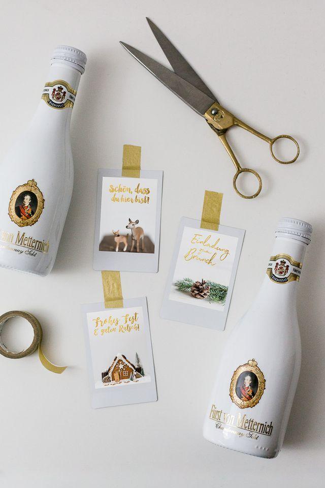 DIY mit der weißen Mini-Fürst von Metternich Chardonnay Flasche