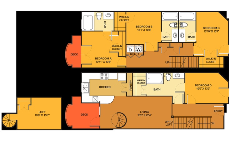 Th floorplan 5 bed 4 bath 1689 sq ft at villas on - 4 bedroom apartments in austin tx ...
