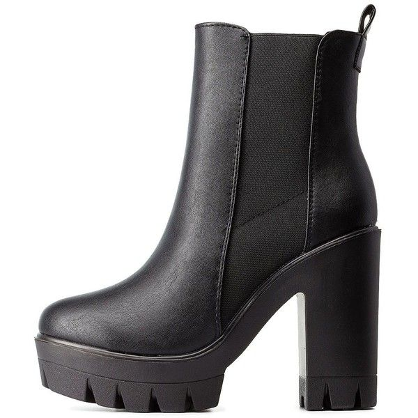Charlotte Russe Black Bamboo Lug Sole Platform Chelsea Booties by... ($40) ❤ liked on Polyvore featuring shoes, boots, ankle booties, black, heels, black ankle boots, heeled booties, chunky heel booties, black platform booties and chukka boots