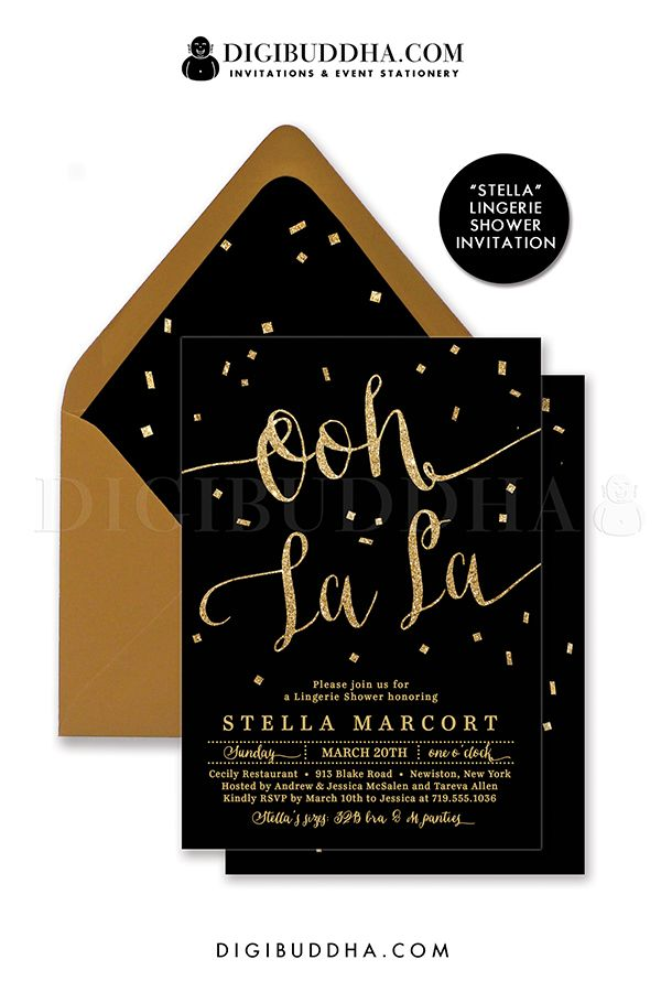 Ooh La La! Elegant black and gold glitter Lingerie shower invitation with gold glitter lettering and confetti details. Choose from ready made printed invitations with envelopes or printable personal shower invitations. Gold shimmer envelopes and matching envelope liners also available. digibuddha.com