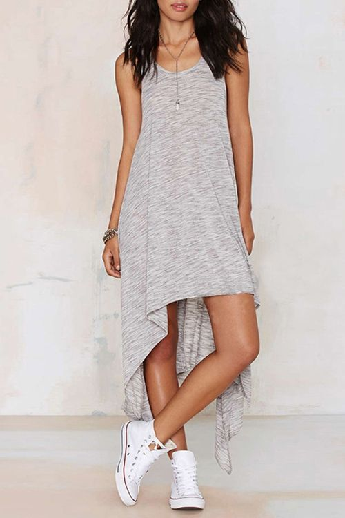 Sleeveless Asymmetrical Gray Dress