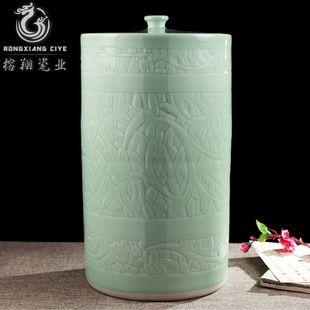 Jingdezhen Céramiques en cylindre droit 100 / 50 kilos de riz gravé avec couvercle de bocal de cornichons de cylindre du cylindre de réservoir de stockage