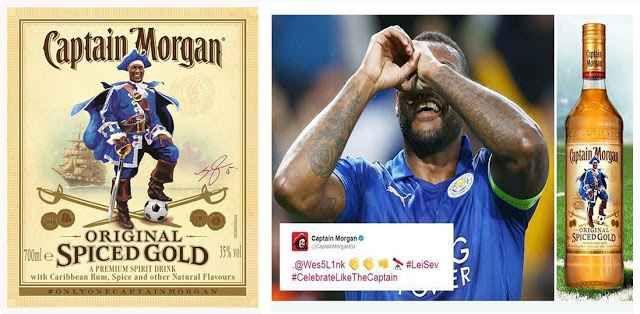 Leicester - Siviglia 2:0 e il rum di 'Captain Wes Morgan' Wes Morgan capitano del Leicester e dall'anno scorso anche marchio di un rum è oggetto di discussione in seno alla Premier League. Sarebbe pubblicità non ammessa dalle regole.  Il difensore e capitan