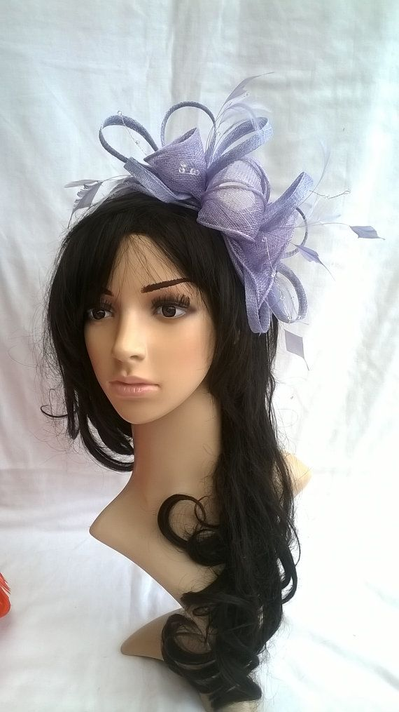Stunning Lavender Rosette Sinamay and 3 loop Feather Fascinator..crystal stamens.