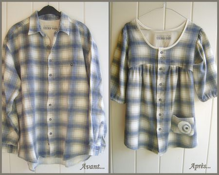Pinner made a cut at chest, gathered around, redesigned sleeves, narrowed and shortened everything,