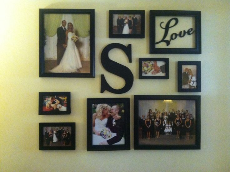 Our wedding photo collage! @Cheri Edwards Edwards Bergman my symmetrical self struggled with this!