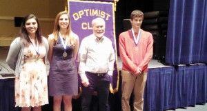 Winners in the 2015 Madison Optimist Club Essay Contest were gold-medal recipient Teresa Andrejewske, from left, silver winner Megan Zecher, Optimist and contest chairman Jim Gilchrist and bronze winner Michael Samaras. (Contributed/Vic van Leeuwen)