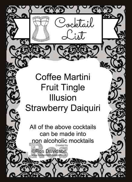 Hen's party cocktail list #stampinup #MDS #hensparty #cocktaillist