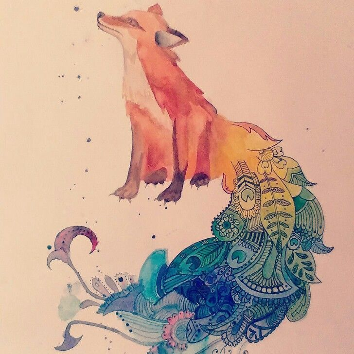 Watercolor Peacock Tattoos  | Watercolor fox/peacock (peafox)