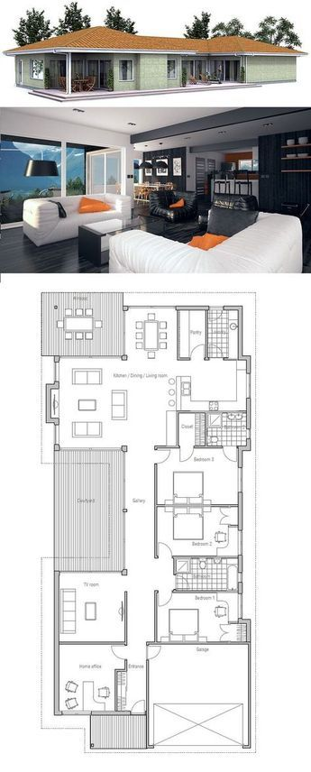 Narrow House in Modern Architecture, 5 bedrooms. Floor Plan from ConceptHome.com