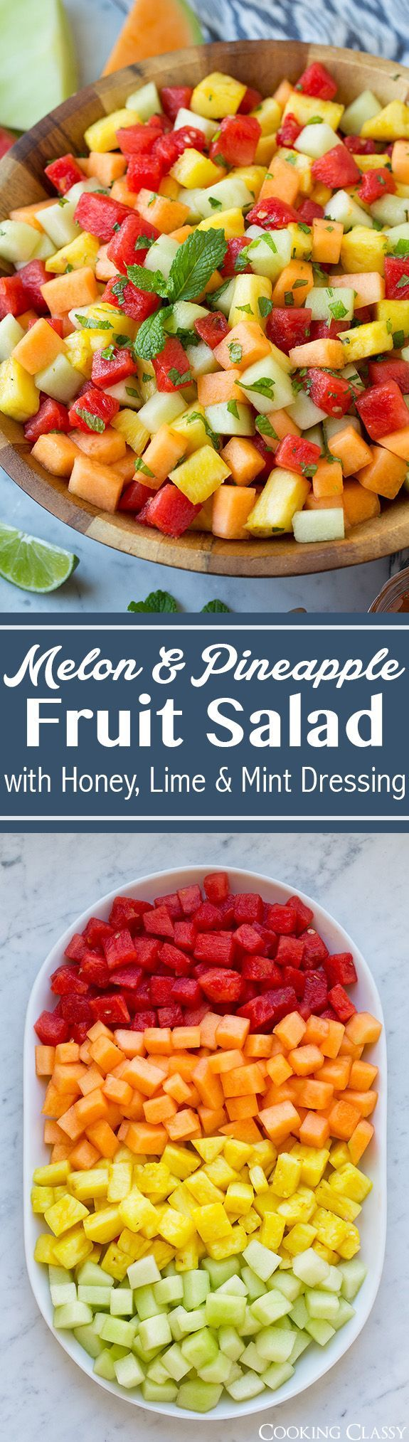 Colorado Harvest of the Month - September #Melons Melon Fruit Salad with Honey, Lime and Mint Dressing