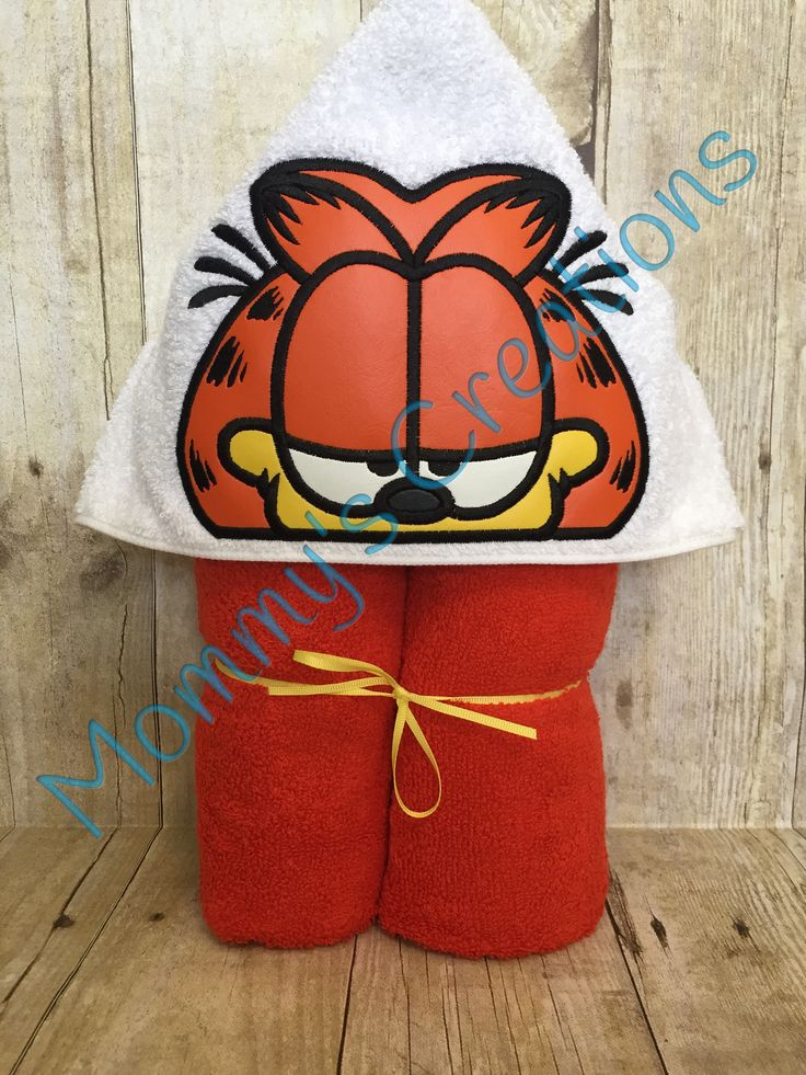 "Lazy Cat Applique Hooded Bath Towel, Beach Towel Cover Up 30"" x 54""  Personalization Available by MommysCraftCreations on Etsy"