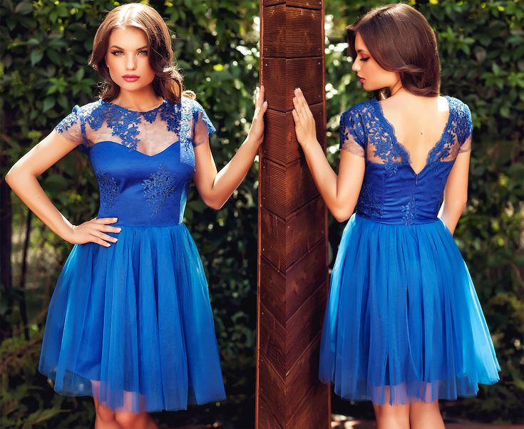 Lovely short occasion dress made from tulle and lace in beautiful shades of blue, perfect for a bridesmaid.