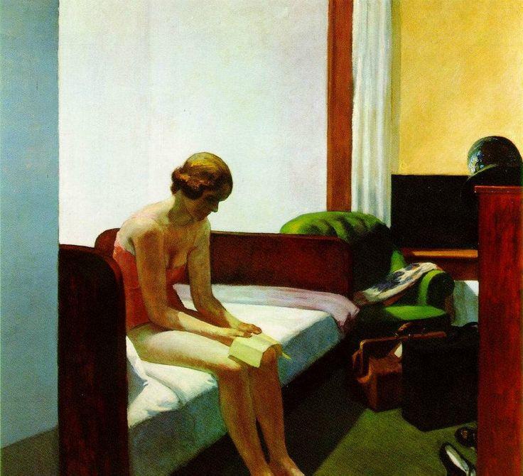 Hopper, camera di albergo (1931). Museo Thyssen Bornemisza - Madrid. Il pittore americano insiste spesso suoi luoghi di passaggio, di transizione. Gli alberghi, gli autogrill, le finestre, i punti di demarcazione tra la natura e le zone urbanizzate. Questa stanza d'albergo è una delle più belle della sua produzione.