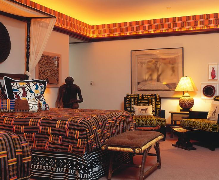 African bedroom -- The man in the corner is so effin' creepy!!! That's a no-go!!