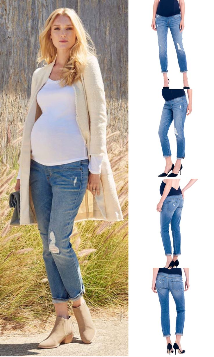Ingrid & Isabel Distressed Maternity Jeans are stylish, comfortable, and perfect to show off your belly bump! Shop this style at duematernity.com