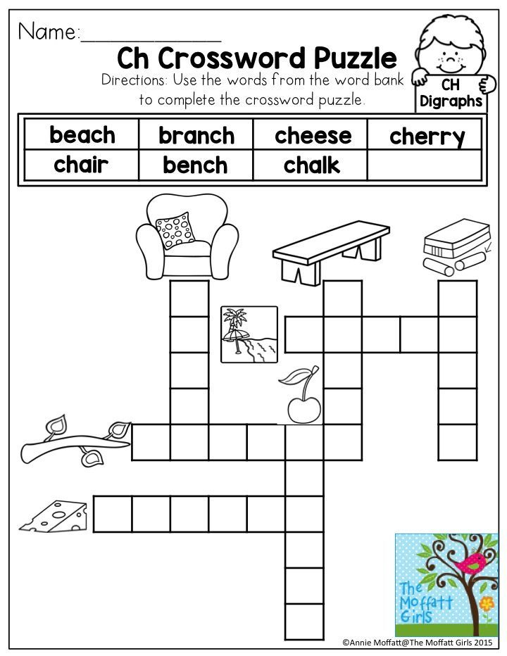 Pennsylvania Crossword Puzzle Worksheets : Digraphs ch words no prep packet activities crossword