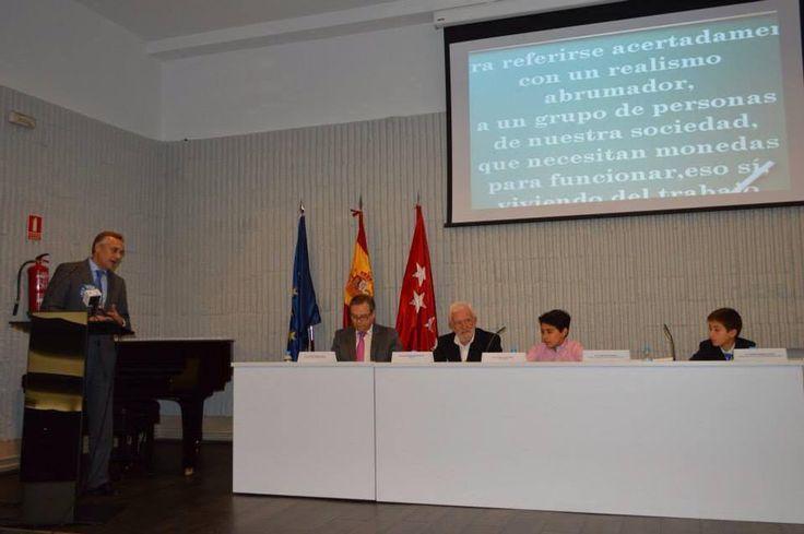 Raul Mayoral. Momento de la presentación de su libro en la Universidad San Pablo CEU en Madrid.