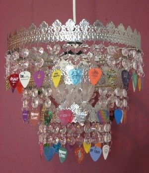 Guitar pick chandelier. Fun idea