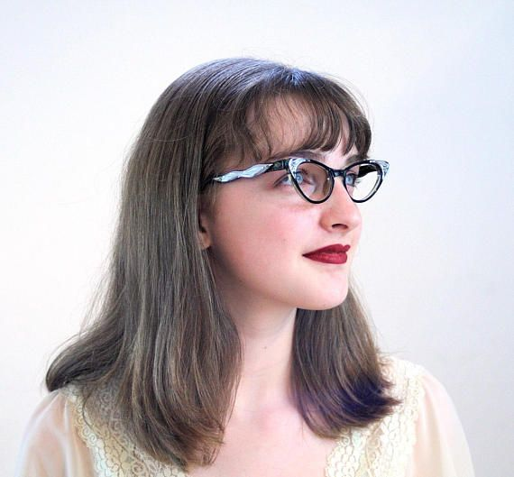 50s Cats Eye Glasses, Vintage Cat Eyeglasses, Black & Chrome Eyeglasses, Retro Eyeglass Frames, Rockabilly Eyeglasses, Pinup Eye Glasses