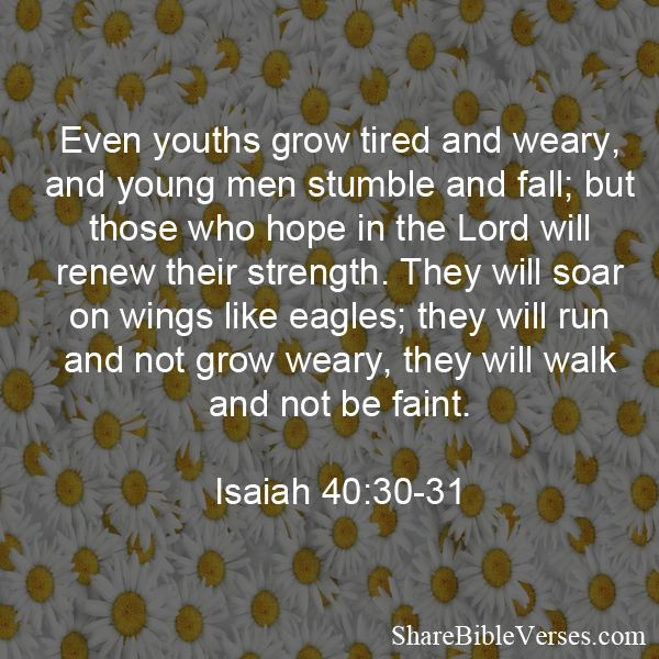 Even youths grow tired and weary, and young men stumble and fall; but those who hope in the Lord will renew their strength. They will soar on wings like eagles; they will run and not grow weary, they will walk and not be faint. Isaiah 40:30-31 Pl
