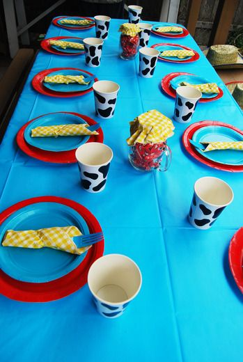 love these table settings for TJ's toystory birthday.