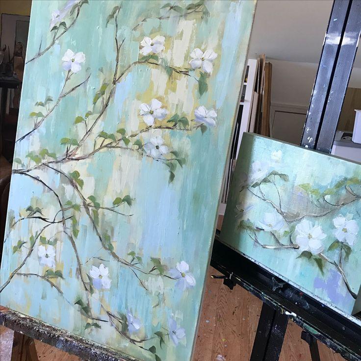 Dogwood trees, oil painting, www.peytonhutchinson.com