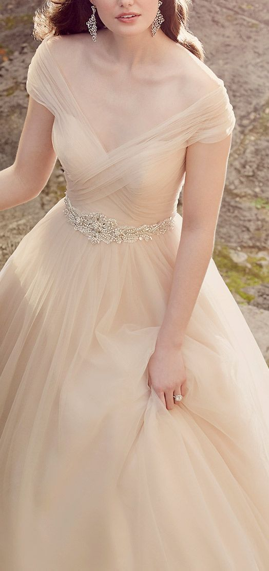 Blush Tulle Wedding Gown accented by a hand-beaded belt (Style D1874) / Essence