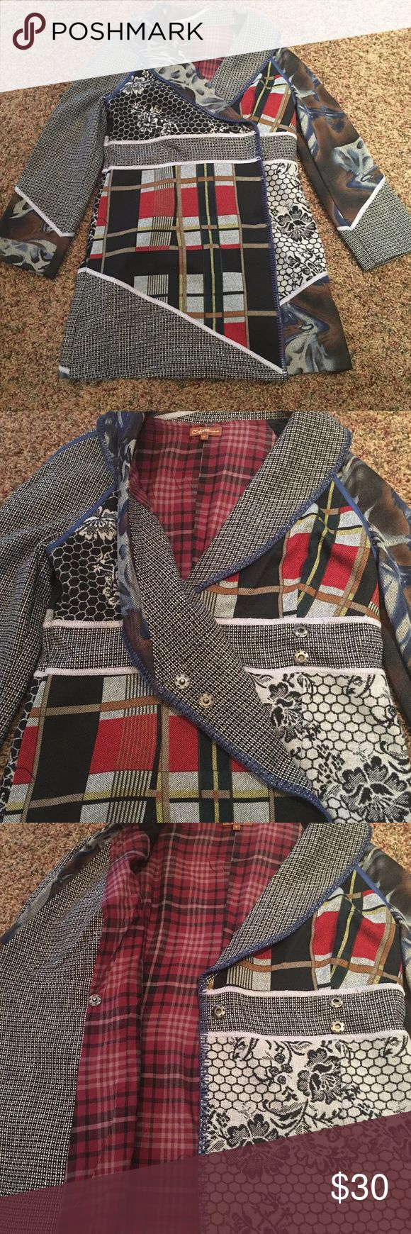 rain coat fun, multi patterned rain coat, fully lined , knee length . Cross over front  that snaps closed Ika Butoni- obstinee Jackets & Coats