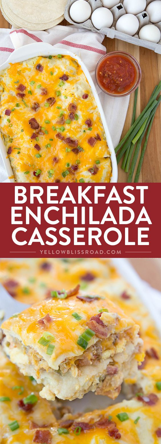 Breakfast Enchilada Casserole Recipe - a layered breakfast dish with a Mexican…
