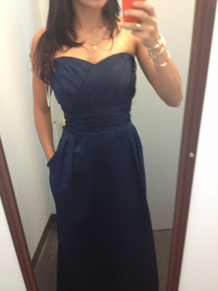 Navy bridesmaid dress with pockets