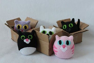 DIY tutorial: make a tiny kitten in a box  Maybe @Meghan Roth can make them a bunch ; )