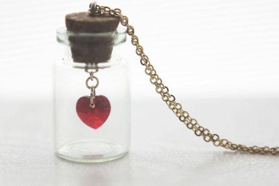 Bottled Crystal Heart Swarovski Necklace Pendant by onceuponaCHO, $35.00