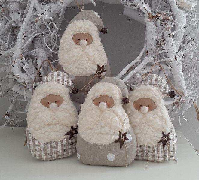 zwei Nikoläuse Weihnachten Landhaus von Feinerlei auf DaWanda.com, B/H ca. 13 x 9 cm, 2 Stck. 17,00