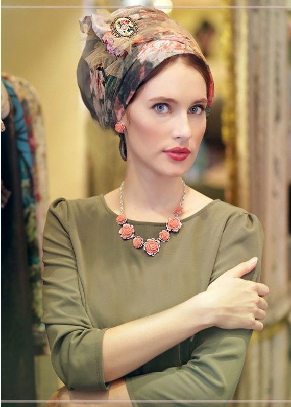 Verona Green Floral Head Covering