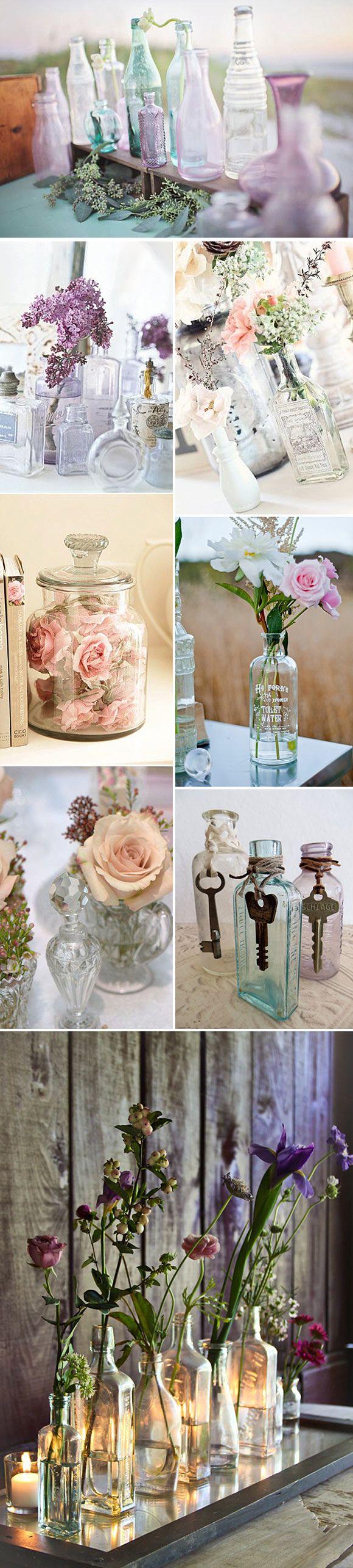 Decoración con botellas de cristal vintage