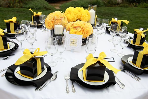 Yellow and black reception tables. Yellow wedding ideas