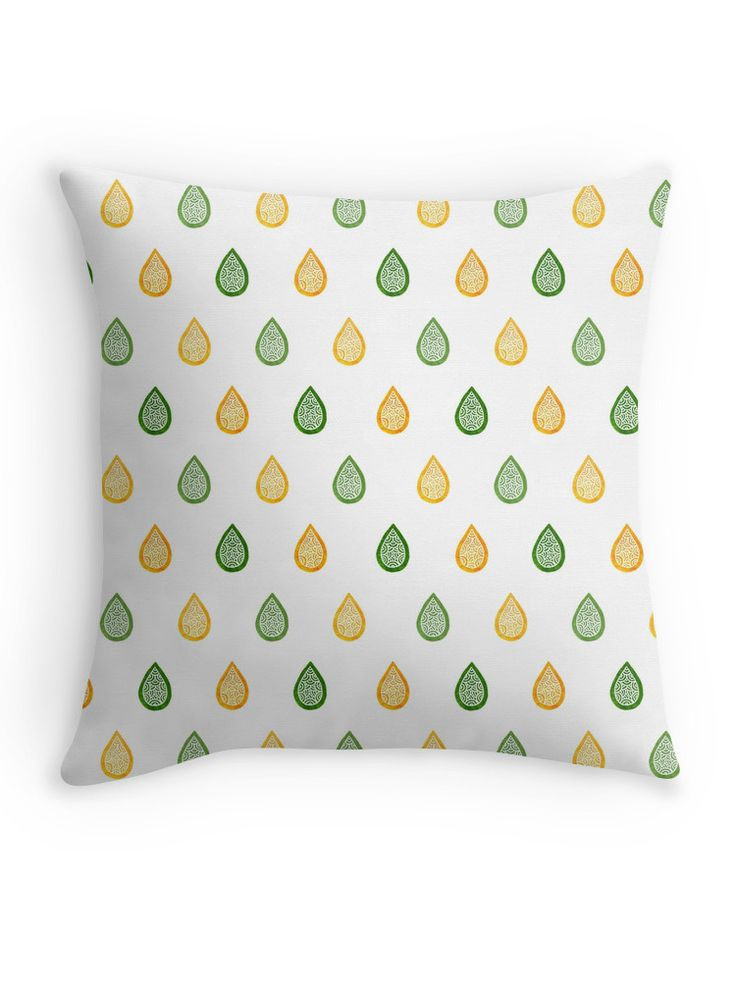 """Green and yellow raindrops"" Throw Pillow by @savousepate on @redbubble #pattern #raindrops #drops #droplets #green #yellow #throwpillow #homedecor"