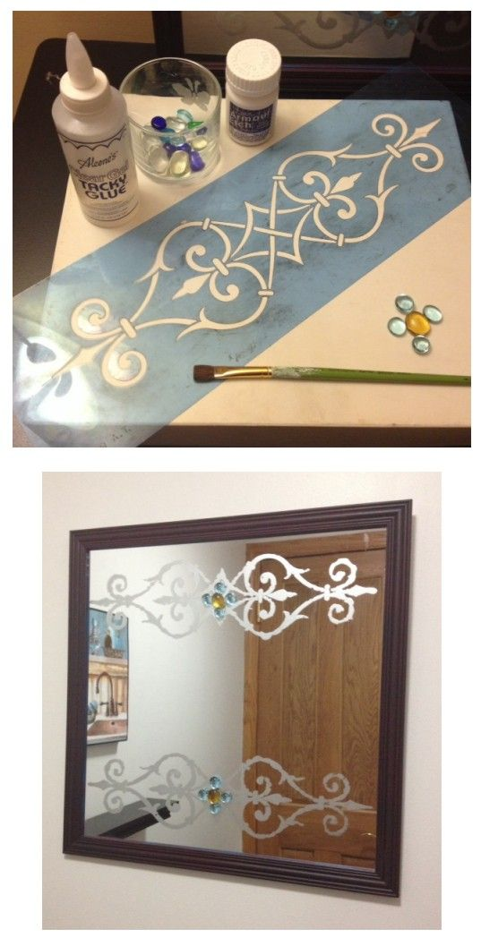 Diy Mirror Craft Cheap Mirror From Thrift Store Spray Paint Frame Tape Stencil And Thickly Dab On Armor Etch Mirror Crafts Thrift Store Crafts Etching Diy