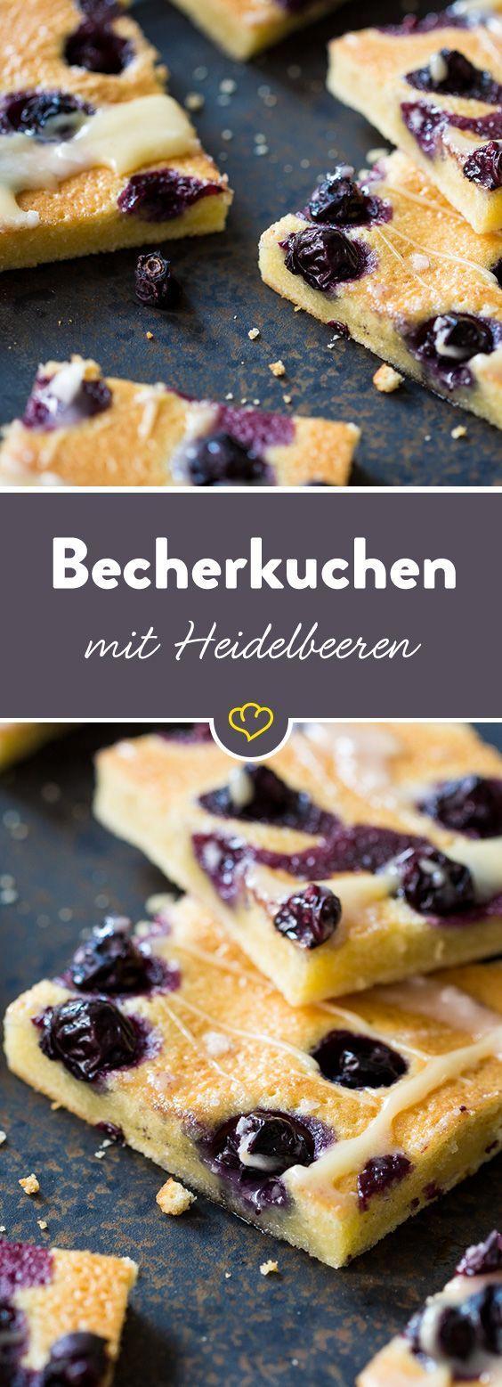 Schneller Heidelbeer-Becherkuchen vom Blech
