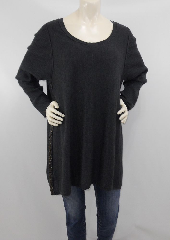 d1dd97530158 Eileen Fisher 2X A-Line Sequin Trim Sweater Tunic Gray Merino Wool Long  Sleeve #EileenFisher #Tunic #Any