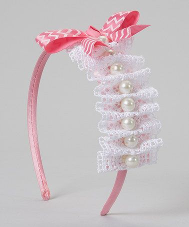 Loving this White & Pink Lace Ruffle Pearl Bow Headband on #zulily! #zulilyfinds