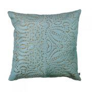 PUNTO LOCO CUSHION - NILE BLUEThe Punto Loco laser burn cushion features a reflective pattern inspired by traditional batik.  This statement cushion repeat design creates an eye catching and luxurious aesthetic.  This cushion has been hand made by skilled artisans, each cushion is unique and one of a kind.  Cushion measures 50 x 50cm. Comes with Tonal Suedette Backing.  PET Fill Included.