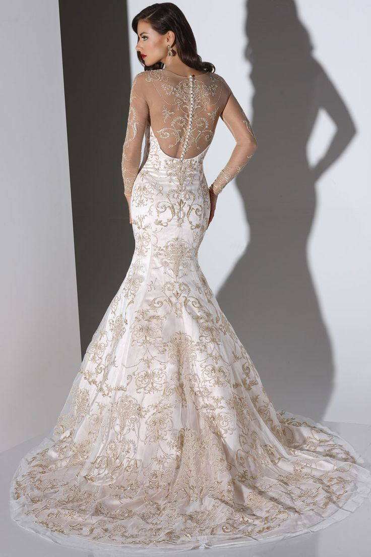 Cristiano Lucci gorgeous gold detailing makes this wedding dress so rich! We love the sexy mermaid shape with illusion open back and sleeves!