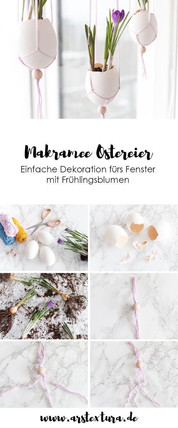 Fenster Deko für Ostern – Makramee Ostereier