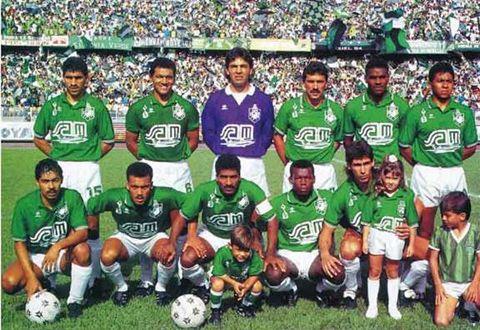 "Atlético Nacional, winners of the Categoría Primera A (Colombia) 1991 : Franco, Osorio, Herrera, Escobar (R.I.P.), Cassiani, Gómez, García, Fajardo, Serna, Aristizábal and Faustino ""Tino"" Asprilla (2nd left front row, Atlético Nacional, 1989–1992, 78 apps, 35 goals + 2002–2003, 11 apps, 3 goals)."