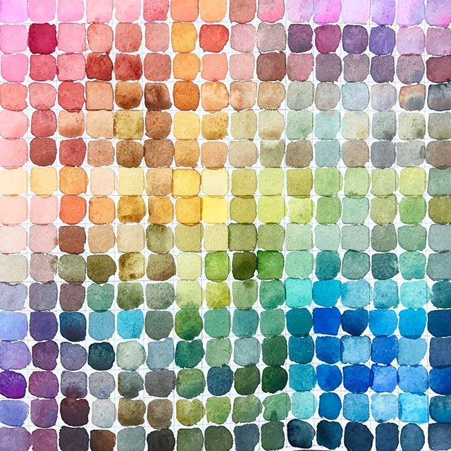 All 256 colors in my color chart! I used winsor and newton paints and I also listed the paints I used below if anyone is interested 👇🏻 In order Opera rose Alizarin crimson Cadmium red Burnt sienna Raw umber  Burnt umber Quinacridone Gold Cadmium yellow Olive green Permanent sap green  Veridian Phthalocyanine blue Prussian blue  French ultramarine  Cerulean blue Payne's gray ❤️ Check out my last post for the video and instructions on how to make this bad boy